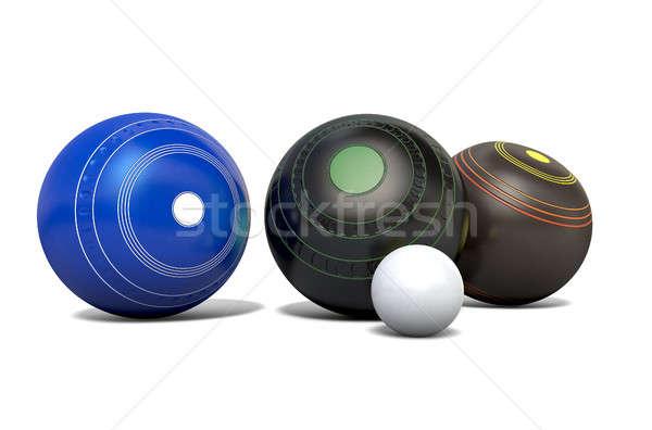 Stockfoto: Gazon · kommen · drie · verschillend · ontwerpen · bowling