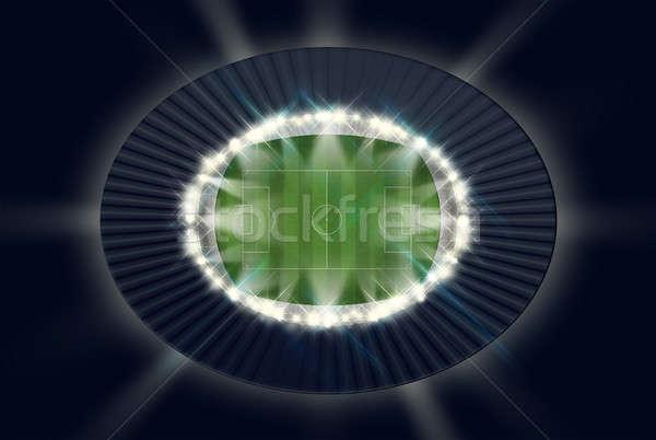 ストックフォト: サッカー · スタジアム · 1泊 · 緑の草 · ピッチ