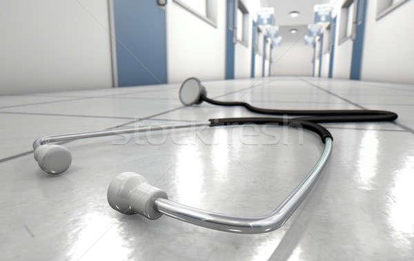 Hospital Hallway And Stethoscope Stock photo © albund