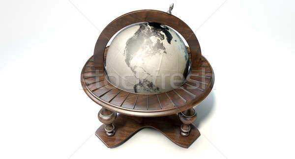 ヴィンテージ 木製 世界 世界中 飾り 孤立した ストックフォト © albund