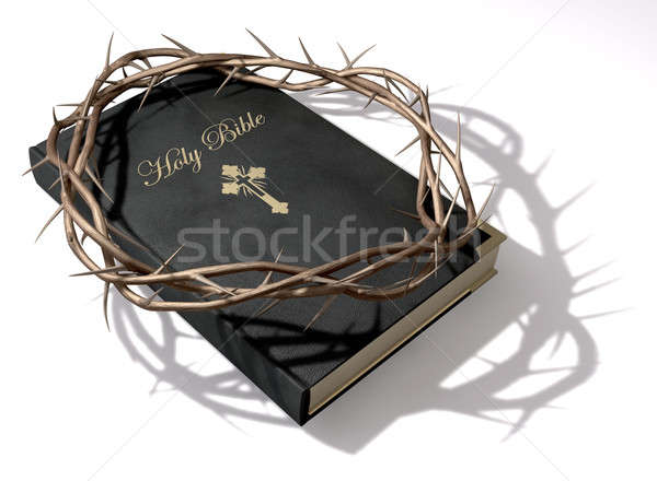 Bible couronne noir cuir or Photo stock © albund