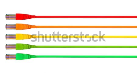Ethernet Cables Unplugged Colors Pointing Forward Left Stock photo © albund