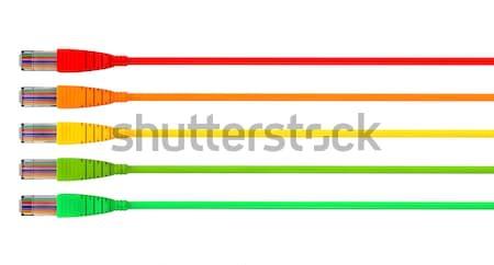 Ethernet kablolar renkler işaret ileri ayarlamak Stok fotoğraf © albund