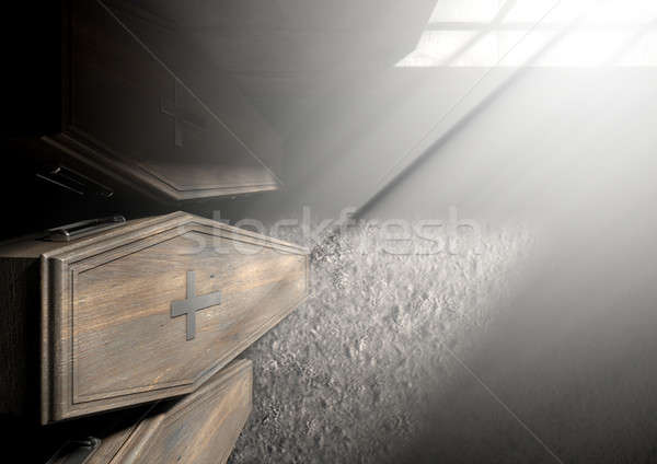 Coffin Row In A Room Stock photo © albund