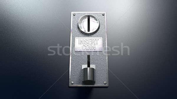 érme rés kék közelkép fém panel Stock fotó © albund