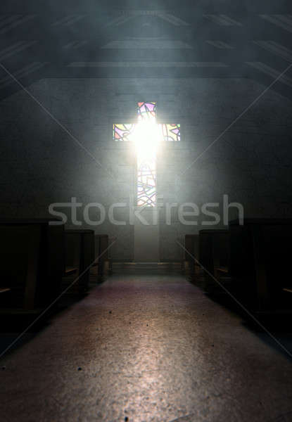 Stained Glass Window Crucifix Church Stock photo © albund