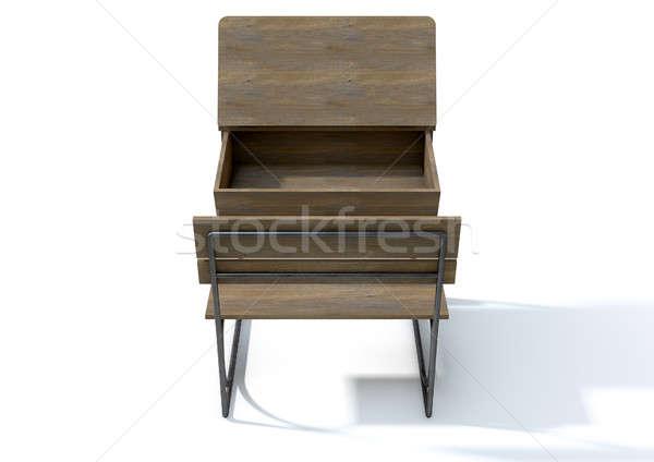 Vintage School Desk Open Empty Stock photo © albund
