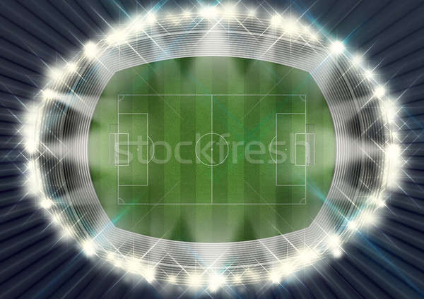 Foto stock: Fútbol · estadio · noche · objetivos · hierba · verde