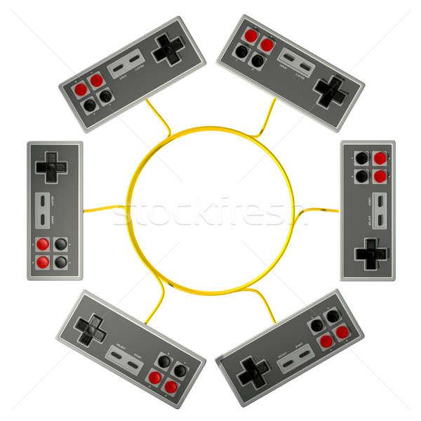 Klasszikus számítógépes játékok verseny gyűjtemény négyszögletes izolált Stock fotó © albund