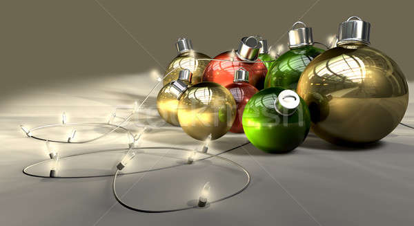 Christmas Baubles And Fairy Lights Stock photo © albund