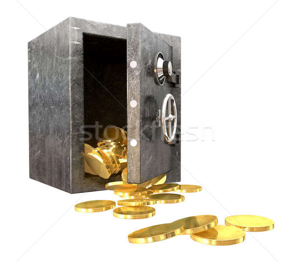 Safe Spilling Coins Perspective Stock photo © albund