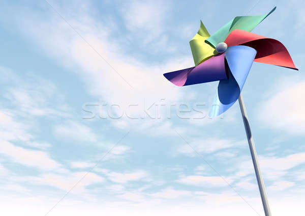 Colorful Pinwheel On Blue Sky Perspective Stock photo © albund