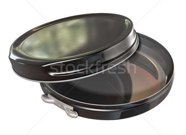 Black Round Metal Tin Open Stock photo © albund