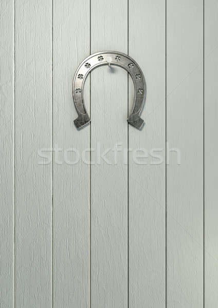 Lucky Horseshoe On Wood Stock photo © albund
