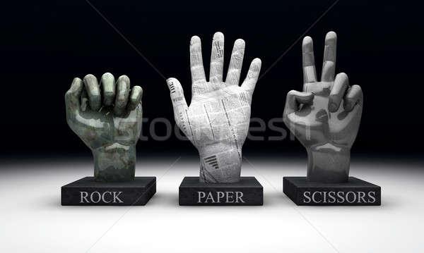 ストックフォト: 岩 · 紙 · はさみ · 外に · 手