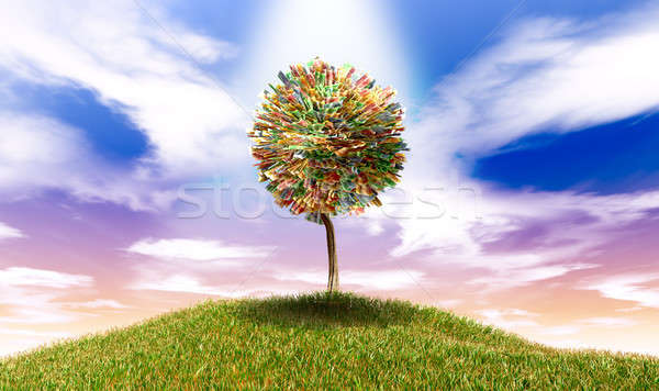 Stylised Money Tree South African Rand Notes On Grassy Hill Stock photo © albund