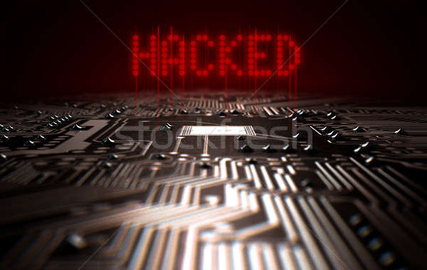 Circuit Board Hacked Text Stock photo © albund