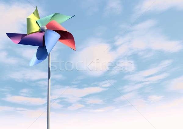 Colorful Pinwheel On Blue Sky Front Stock photo © albund
