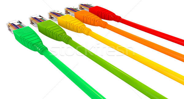 Ethernet Cables Unplugged Colors Pointing Away Close Stock photo © albund