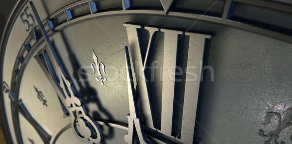 Macro Antique Clock Midnight Stock photo © albund