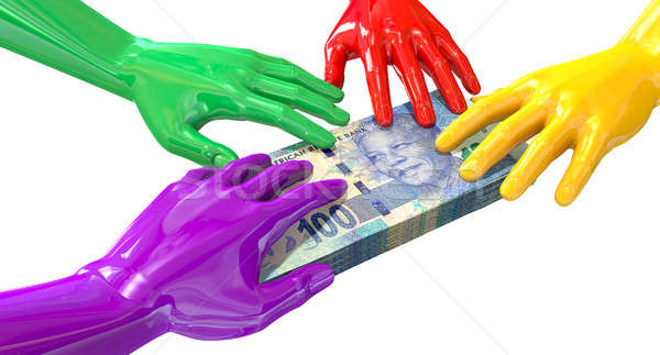 Hands Colorful Grabbing At South African Rands Stock photo © albund