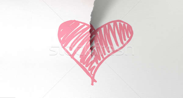 Sketched Pink Heart Torn In Two Stock photo © albund