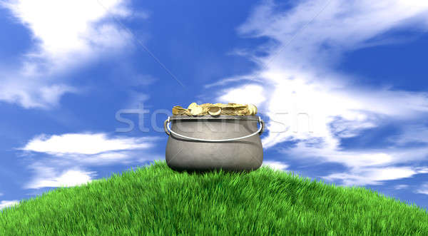 Pot Of Gold On Grassy Hill Stock photo © albund