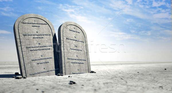 десять Постоянный пустыне два каменные коричневый Сток-фото © albund