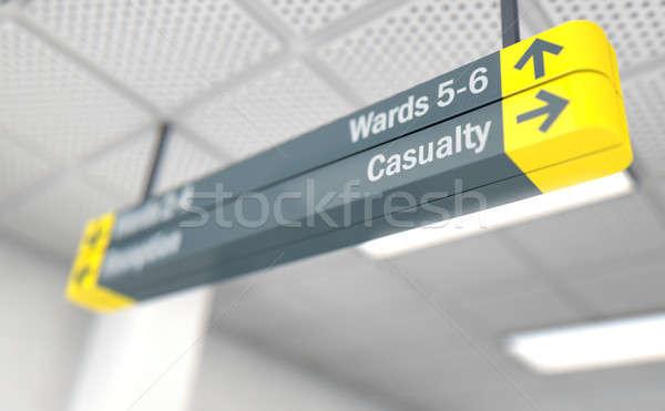 Kórház felirat plafon út 3d render orvosi Stock fotó © albund