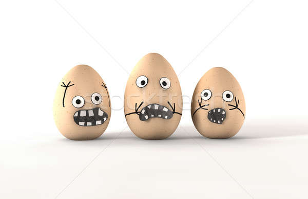Scared Egg Characters Stock photo © albund