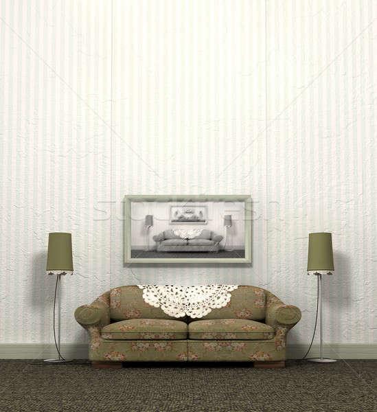 Eski kanepe bakmak bağbozumu iç düzen Stok fotoğraf © albund