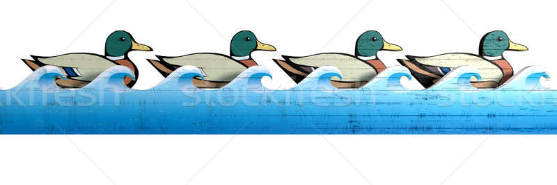 Stock photo: Get Your Wooden Ducks In A Row