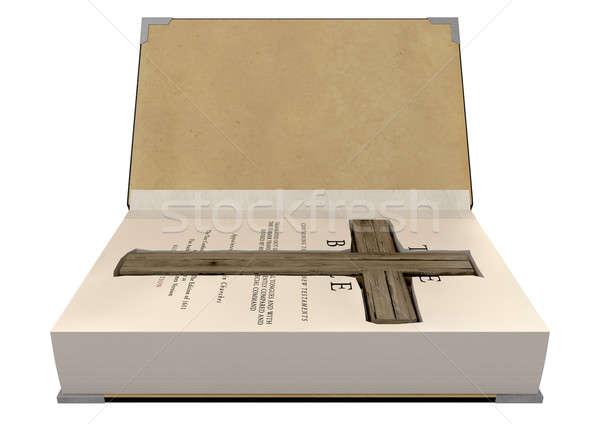 Krucyfiks Biblii otwarte Zdjęcia stock © albund