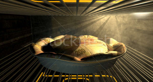 Rand Money Pie Baking In The Oven Stock photo © albund