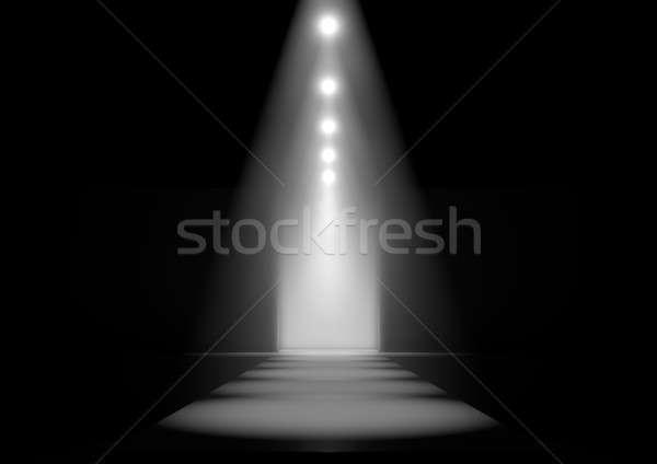 Landingsbaan mode fase rij licht show Stockfoto © albund