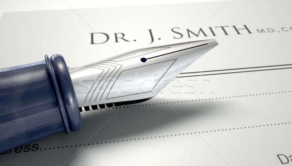 врачи рецепт авторучка общий сведению изолированный Сток-фото © albund