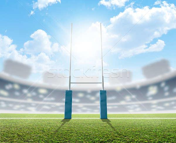Rugby Stadium And Posts Stock photo © albund