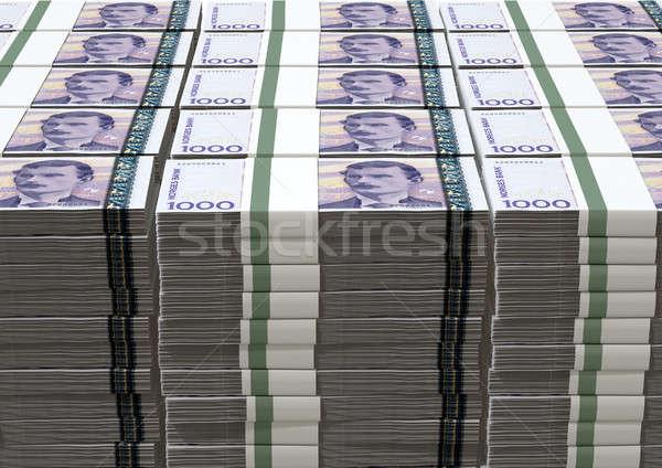 Norvég jegyzetek boglya bankjegyek izolált pénz Stock fotó © albund