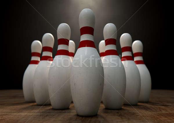 Dziesięć pin bowling biały czerwony Zdjęcia stock © albund