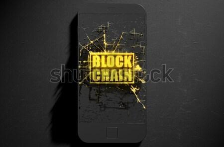 チェーン スマートフォン 微視的 クローズアップ 小 キューブ ストックフォト © albund