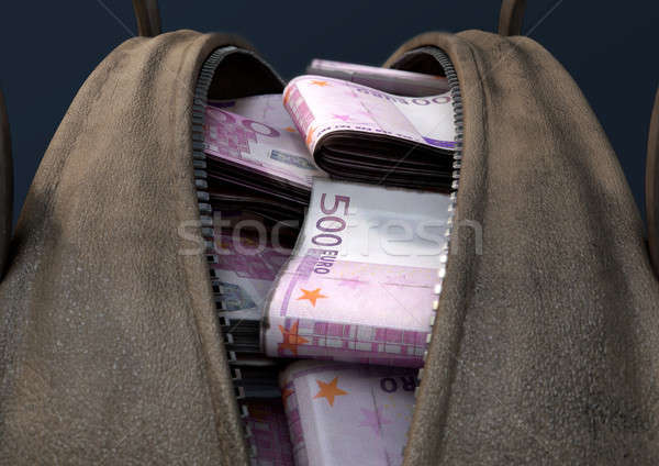Illicit Cash In A Brown Duffel Bag Stock photo © albund