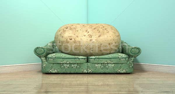 Couch Potato On Old Sofa Stock photo © albund