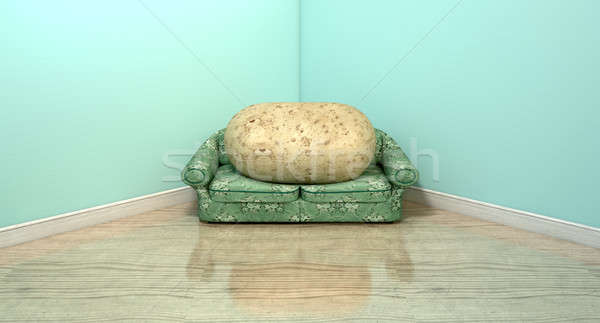 #8071442 Couch Potato On Old Sofa by ...