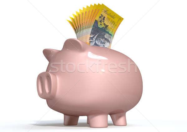 Piggy Bank Saving Australian Dollars Stock photo © albund