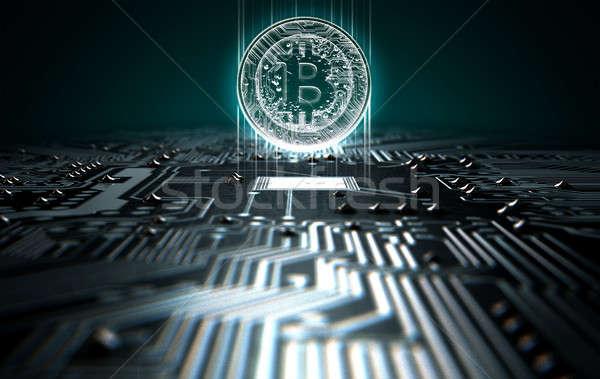 Circuit Board Projecting Bitcoin Stock photo © albund