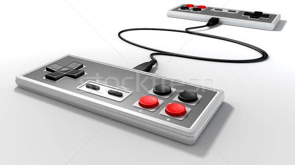 Vintage kontroler gier konkurencja dwa prostokątny Zdjęcia stock © albund