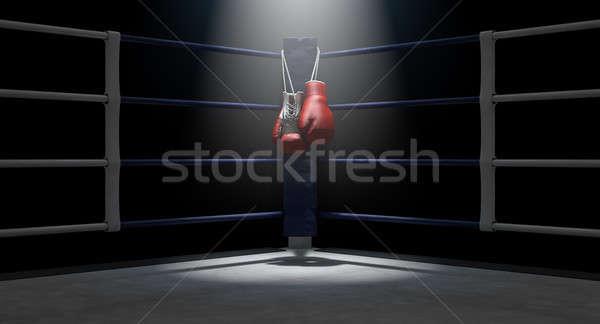 Boxe coin gants de boxe bleu anneau gants Photo stock © albund