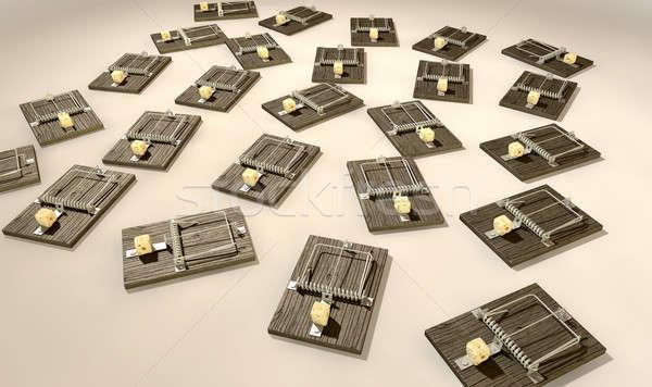 Mousetraps With Cheese Array Far Stock photo © albund