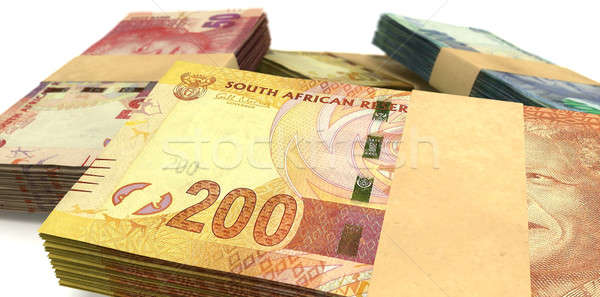 South African Rand Notes Bundles Stack Extreme Close Stock photo © albund