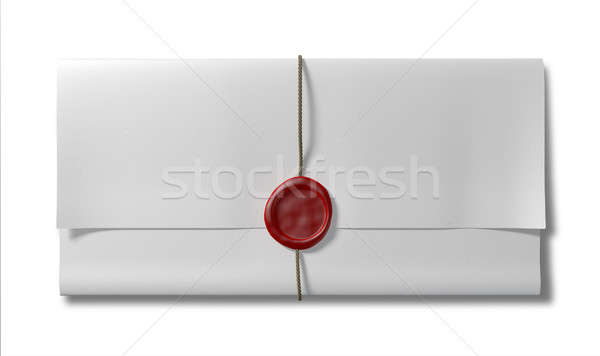 Paper With Red Wax Seal And String Top Stock photo © albund